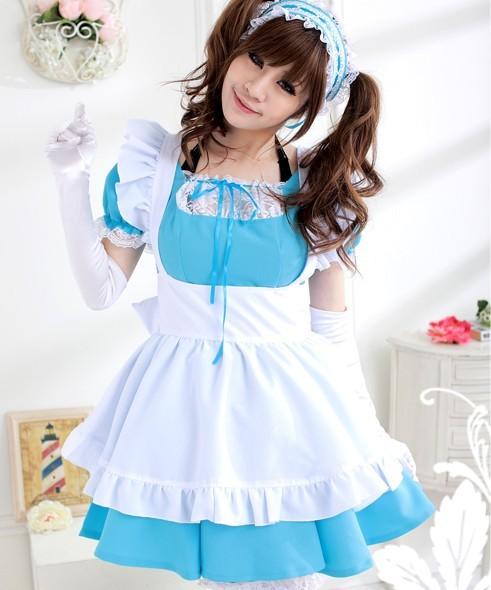 japan alice wonderland cosplay blue lolita maid costume Thời trang Lolita ở Nhật Bản